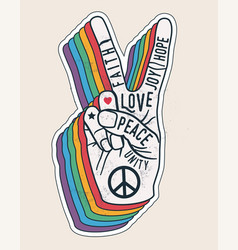 peace hand gesture sign with words on it peace vector image