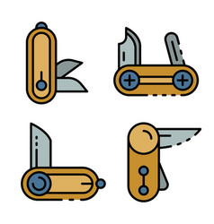 Penknife icons set flat vector