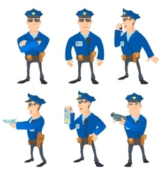 Policeman concept set cartoon style vector image