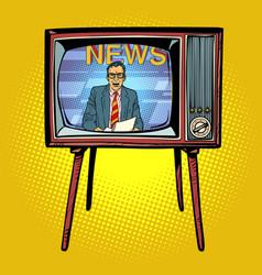 Political news presenter on tv vector