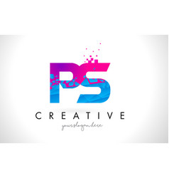 Ps p s letter logo with shattered broken blue vector
