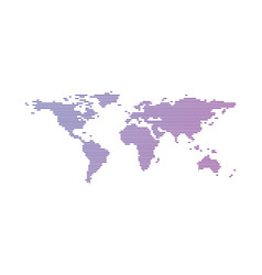 purple gradient world map made from lines vector image