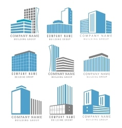 Real estate construction business logo set with vector image