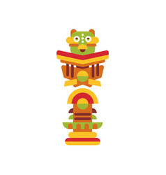 Religious totem pole colorful cultural tribal vector
