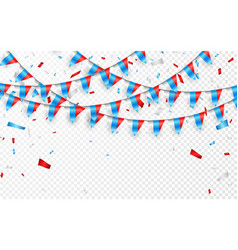Russia flags garland white background with vector