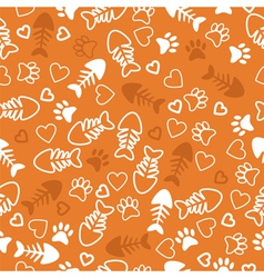 Seamless pattern with cat paw prints fish bone vector