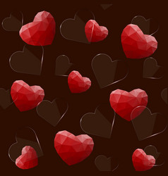 seamless pattern with glass and polygonal hearts vector image