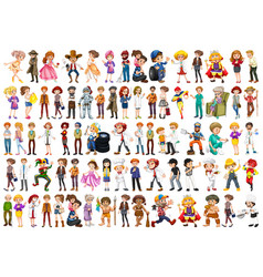 set different job character vector image