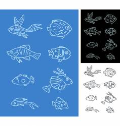 Set fishes vector