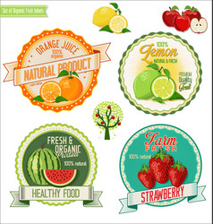 Set fresh and organic labels 3 vector