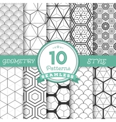 Set of 10 Seamless Geometric Lines Pattern vector
