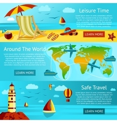 Set summer travel and leisure banners vector