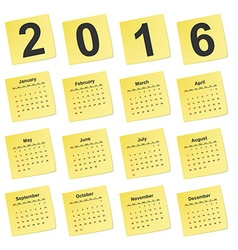 simple calendar 2016 year on yellow stick notes vector image