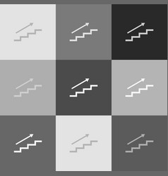 stair with arrow grayscale version of vector image