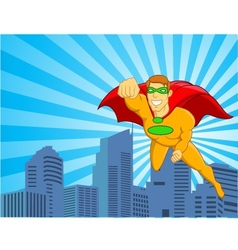 Superhero flying over city vector