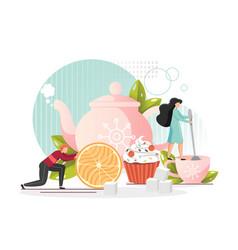 Tea party flat style design vector