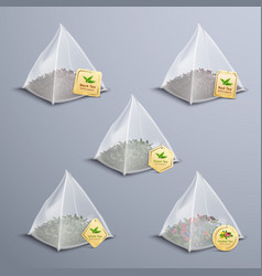 Tea pyramidal bags realistic set vector
