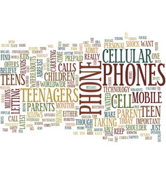 Teenagers and their cellular phones text vector