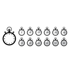 Timer icon set stopwatches clock with stop vector