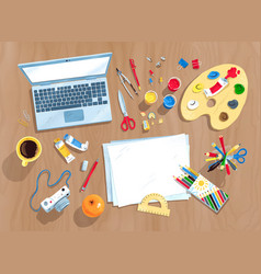 top view set of artists workplace vector image