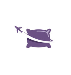 Travel pillow up airplane creative air logo vector