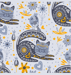tribal cat seamless pattern vector image