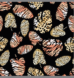 Tropical leaves painted tiger leopard skin vector