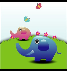 Two elephants vector image