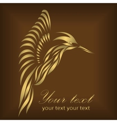 Vintage beautiful gold hummingbird vector image