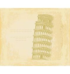 Vintage pisa tower background vector