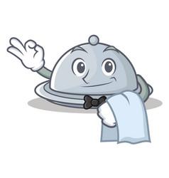 waiter tray character cartoon style vector image