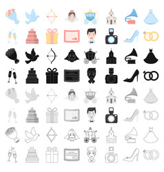 Weeding set icons in cartoon style big collection vector