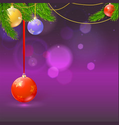 winter new year background with christmas balls vector image