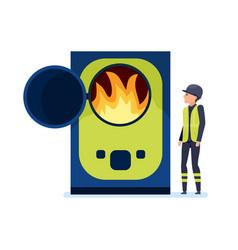 Worker burn garbage in special oven sorts garbage vector