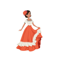 Young beautiful mexican woman in traditional vector