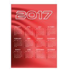 2017 simple business wall calendar red color vector image vector image