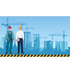 Builder man manager architect and worker on the vector image