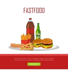 Fast Food Banner Isolated on White Background vector image vector image