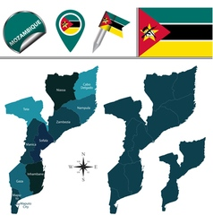 Mozambique map with named divisions vector image