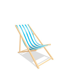 wooden beach chaise longue isolated on white vector image
