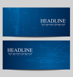 Blue tech banners with circuit board design vector image vector image