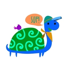 Cartoon ghost turtle flat mascot icon vector