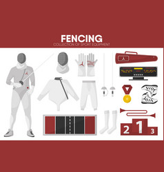 fencing sport equipment swordsman fencer garment vector image