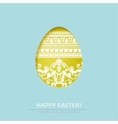 Ornamental cut out egg isolated on blue background vector