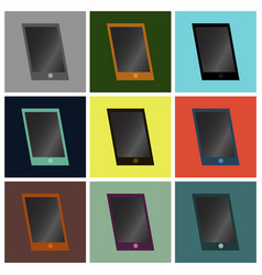 Set icons in flat design mobile phone vector