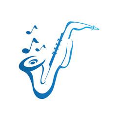 saxophone logo design vector image