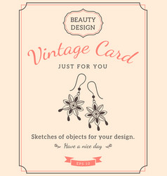 sketch earrings and text vector image vector image