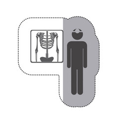 sticker monochrome pictogram doctor and vector image