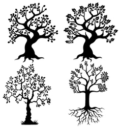Tree silhouette collection vector image vector image