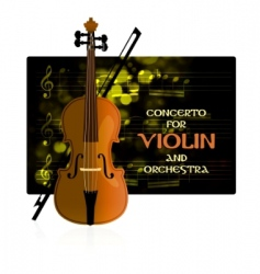 violin with notes and bow vector image